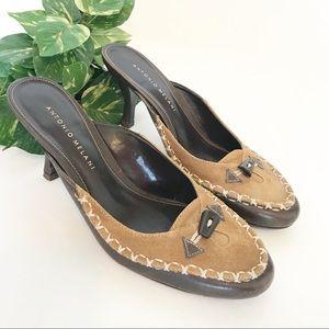 """Antonio Melani • 2"""" Heeled Mules Moccasin Size 8"""